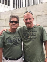 Kenneth Martin, left, with Sam Landis of the homeless outreach group Maslow's Army. Martin died in 2017 at a bus stop, in the cold. Maslow's Army worked with the Gabriel Project on Wednesday to keep people out of the cold.