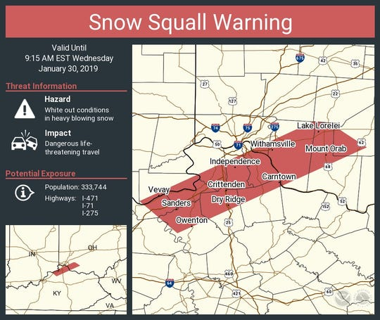 The National Weather Service issued a snow squall warning Wednesday.