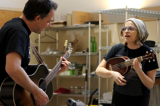 """Marcus Kyd (Roberto, left) and Kimberly Gilbert (Lina) rehearse for the world premiere production of Audrey Cefaly's """"The Last Wide Open."""" Directed by Playhouse in the Park artistic director Blake Robison, the show runs February 14-March 10 in the Playhouse's Shelterhouse Theatre."""