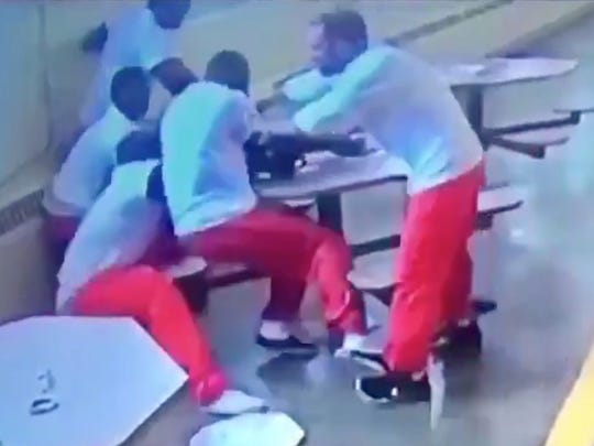 Surveillance footage shows a 2017 knife attack at the Southern Ohio Correctional Institution in Lucasville.