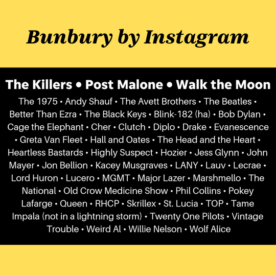 Instagram users made this mock lineup of who they would like to see at Bunbury Music Festival.