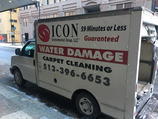 A water cleanup and restoration company truck parked outside Wendell's  on Wednesday afternoon