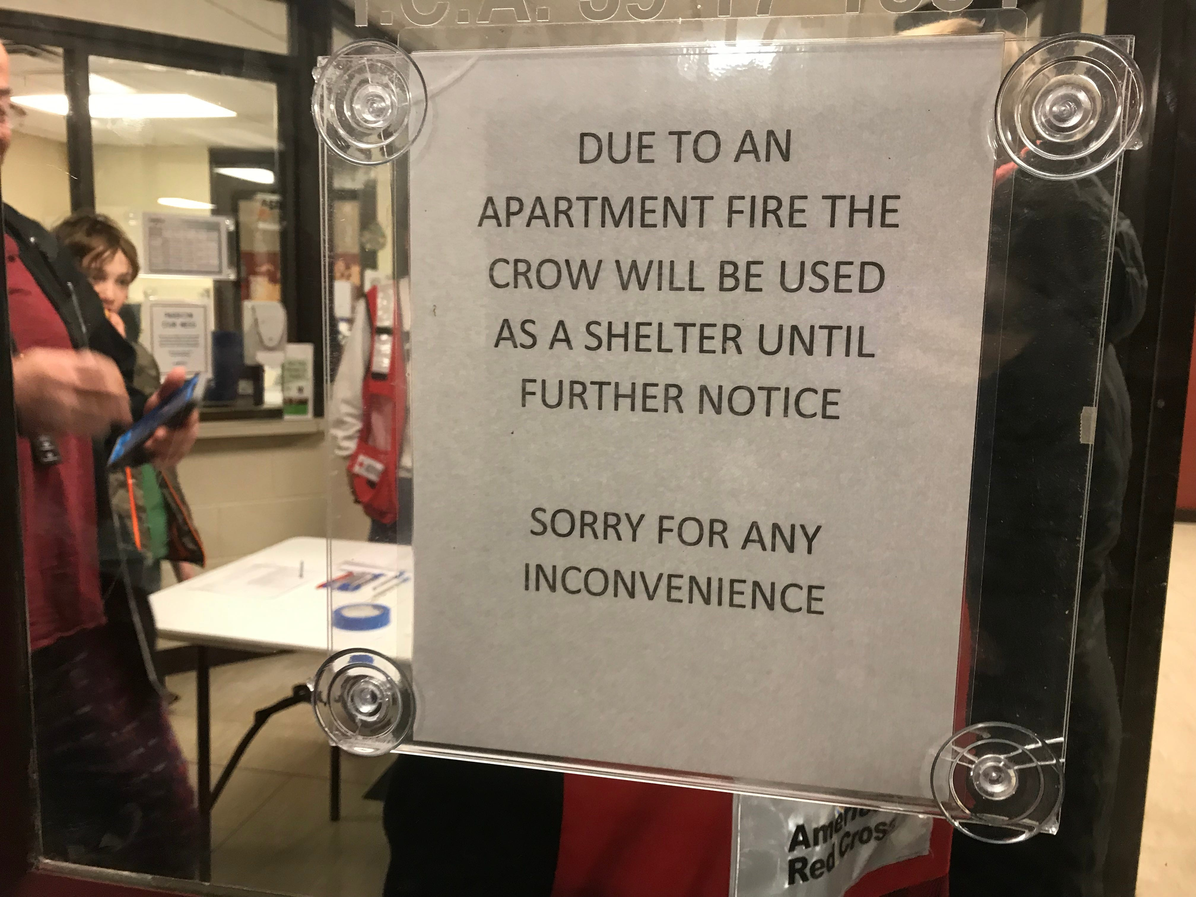 The Crow Community Center was set up as an emergency shelter on Tuesday, Jan. 29, 2019, in Clarksville to accommodate anyone displaced by a fire that heavily damaged 10 units at Ashford Place Apartments and caused smoke damage to 10 others.
