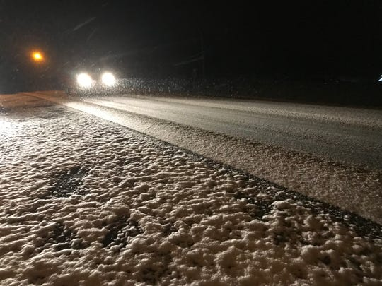 Snow blankets Highway 48/13 in Montgomery County on Wednesday, Jan. 30, 2019.