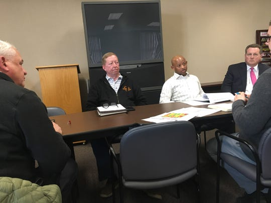 Members of the county's Ad Hoc Land Acquisition Committee are, from left, Jim Sumrell with the Clarksville-Montgomery County School System, county Highway Supervisor Mike Frost, County Commissioners Garland Johnson and John Gannon, and Planning Commission Director Jeff Tyndall.
