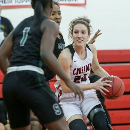 Bound Brook's Cortlyn Morris tries to get past the Stuart Country Day defense on Tuesday, Jan. 29, 2019.