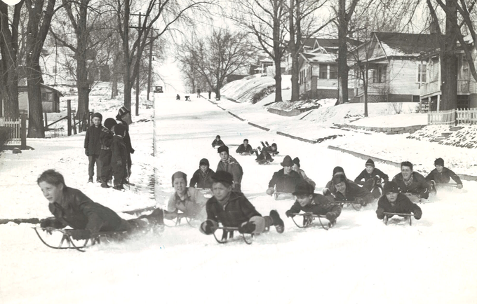 From 1942: This was the scene on Oxford Street in Des Moines, between Hull and Sheridan avenues, in November 1942 after parents petitioned the city to designate the street for sledding and coasting. Other designated coasting areas, which were barricaded from traffic, included Maple Street between East 14th and East 15th streets; Oak Park Avenue between 11th and 12th streets; and 8th Street between Madison and Shawnee avenues.