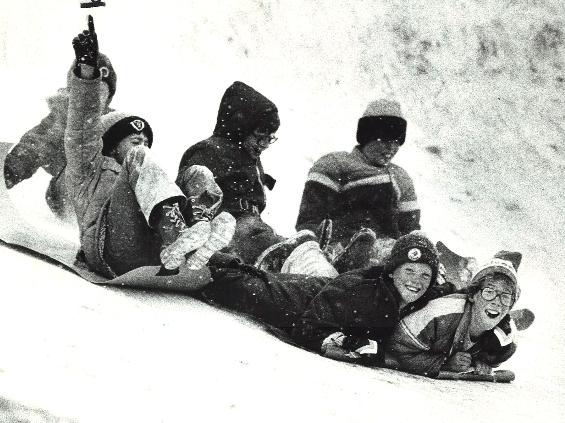 From 1978: Students at Riverview Elementary in Webster City spend recess sledding after a December 1978 snowstorm.