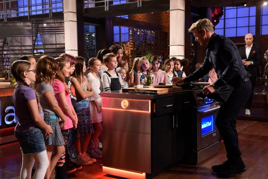 """MasterChef Junior: Chef/host Gordon Ramsay with contestants in the two-hour """"Junior Edition: Girls Just Wanna Have Fun/Junior Edition: The Boys Are Back In Town"""""""