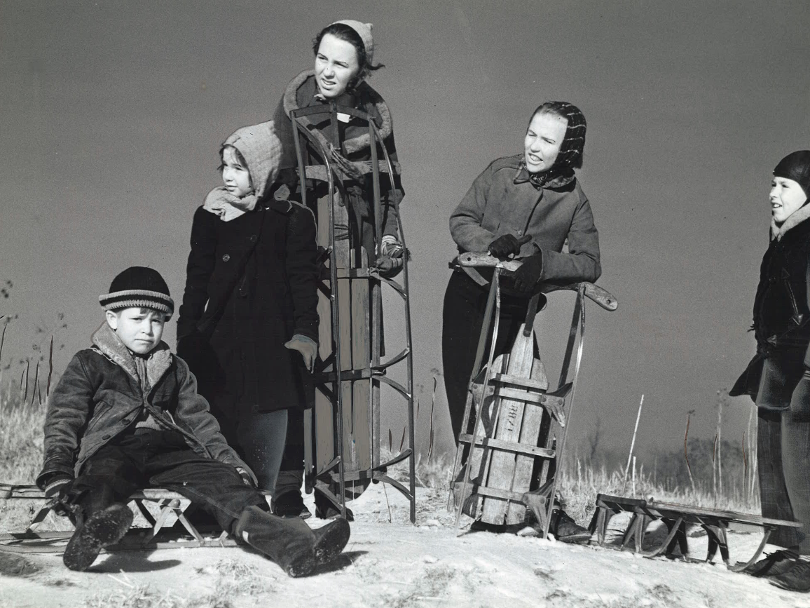From 1939: A sleet and snow-covered hill near 12th Street and Madison Avenue in Des Moines made the perfect sledding spot for these kids in February 1939. From left, Billy Willett, 8; Virginia Willett, 6; Barbara Leach, 12; Patricia Leach, 11; and Kennard Kinley, 8.