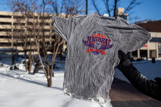 In just a few minutes this wet T-shirt was frozen solid in sub-zero temperatures on Wednesday, Jan. 30, 2019, in Des Moines.