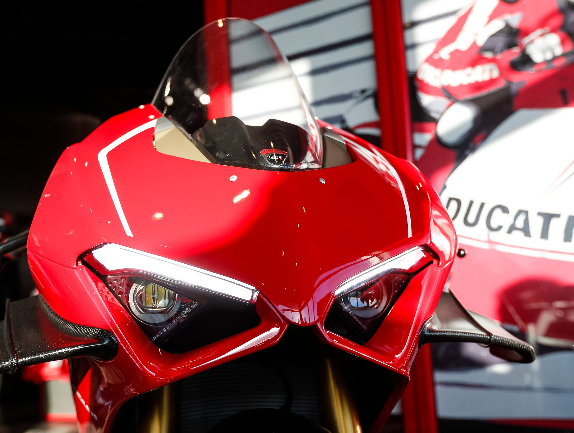 Headlight of the Ducati 2019 Panigale V4 R.