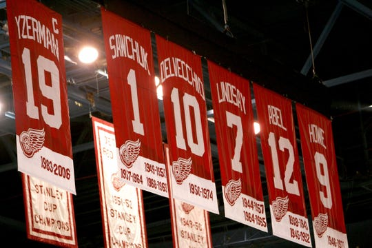The Red Wings have retired Nicklas Lidstrom's No. 5 and Red Kelly's No. 4 to go with Steve Yzerman's No. 19, Terry Sawchuk's No. 1, Alex Delvecchio's No. 10, Ted Lindsay's No. 7, Sid Abel's No. 12 and Gordie Howe's No. 9.