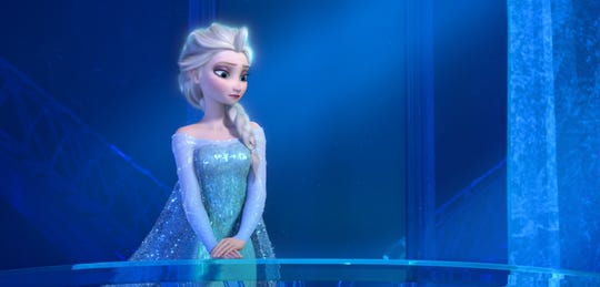 "Elsa the Snow Queen, is voiced by Idina Menzel in a scene from the animated feature ""Frozen."""
