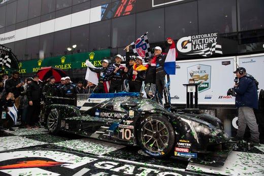 The #10 Wayne Taylor Racing Cadillac DPi.V-R driven Fernando Alonso, Kamui Kobayashi, Jordan Taylor and Renger van der Zande won the Rolex 24 Hours of Daytona. Alonso became only the third F1 driver to win the Formula car crown and the 24.