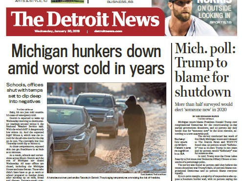 The front page of the Detroit News on January 30, 2019.