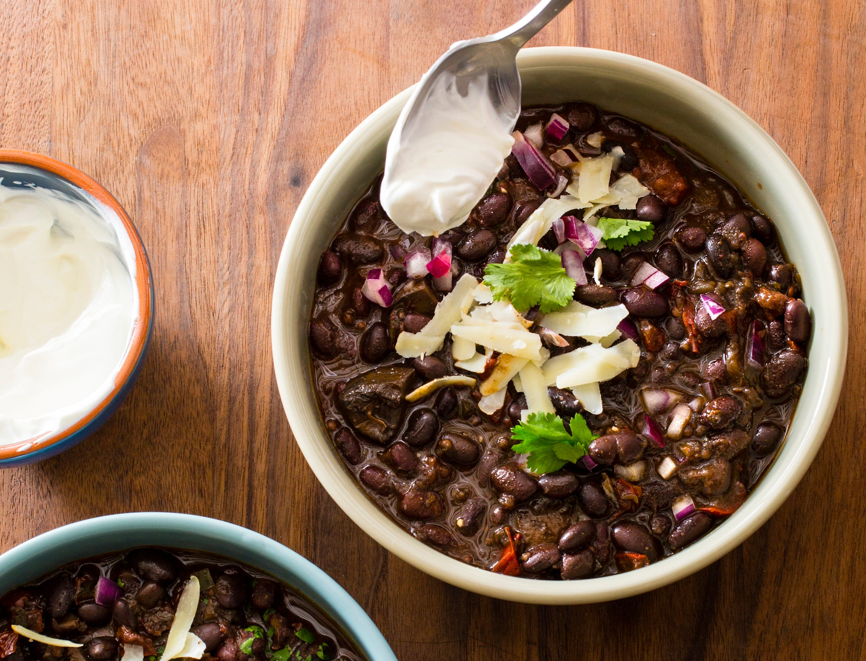 "Black Bean Chili in Brookline, Mass. This recipe appears in the cookbook ""Multicooker Perfection."" ("