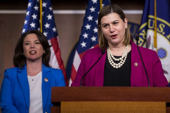 "Rep. Elissa Slotkin (D-MI) speaks during news conference discussing the ""Shutdown to End All Shutdowns (SEAS) Act"" on January 29, 2019 in Washington, D.C. Also pictured is Rep. Angie Craig (D-MN)."