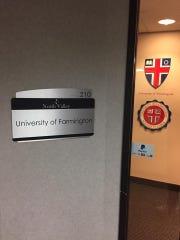 The entrance to the University of Farmington.
