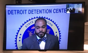 Detroit Police officer Johnny Thomas, commander of the Third Precinct, is arraigned by video feed on a misdemeanor drunken driving charge Wednesday, January 30, 2019. He was arrested early Saturday morning by officers from his own precinct.