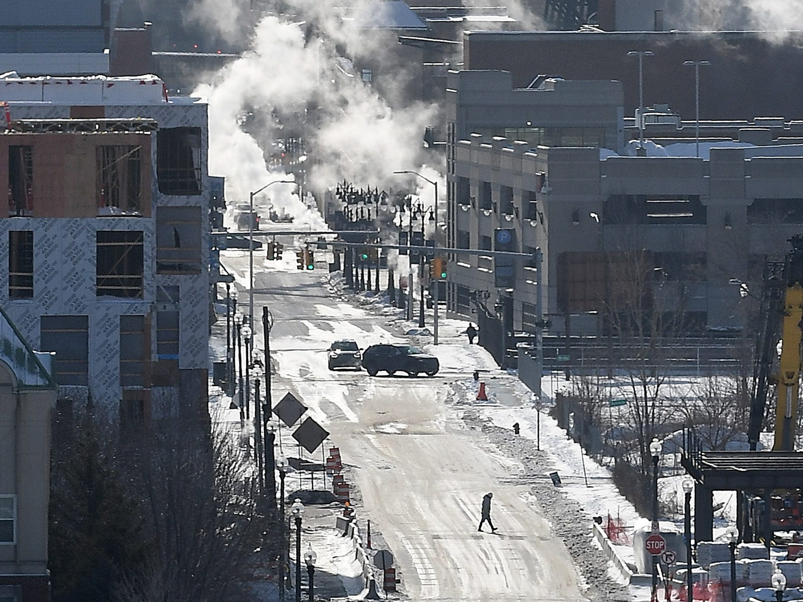 Frozen Detroit, at Mack looking down Brush Street, which was experiencing record cold weather on Wednesday, Jan. 30, 2019.
