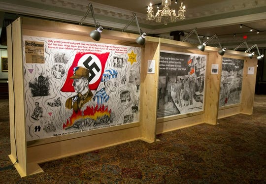 There will be 21 of these murals on display at Temple Adath B'Nai Israel through Feb. 17.