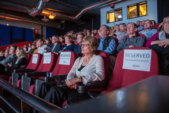 Audience members watch a short film documenting Fort Collins' accomplishments and challenges of 2018 during the annual State of the City Address on Tuesday, Jan. 29, 2019, at the Lyric in Fort Collins, Colo.