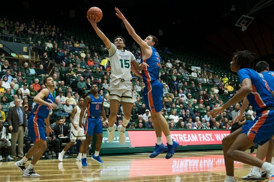 Anthony Masinton-Bonner, shown during a Jan. 29 game against Boise State, and his CSU men's basketball teammates will take on No. 6 Nevada at 8 p.m. Wednesday at Moby Arena.