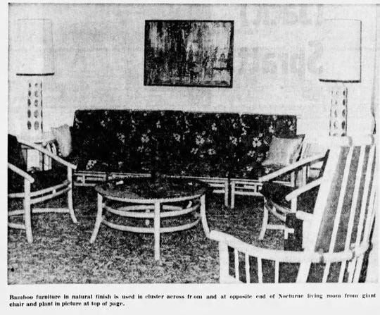 Bamboo furniture was on display in the Nocturne model home in 1966.