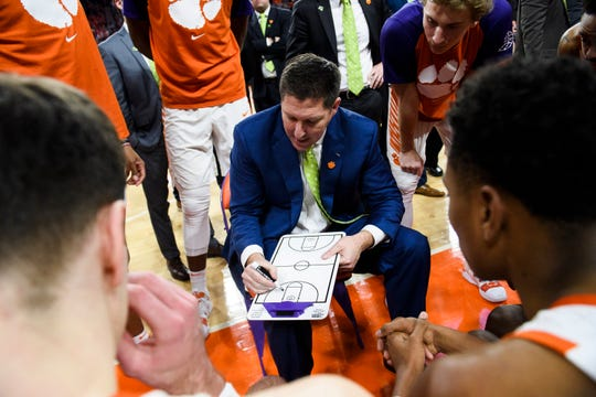 Clemson head coach Brad Brownell strategizes with his team during their game against Pittsburgh at Littlejohn Stadium on Tuesday, Jan. 29, 2019.