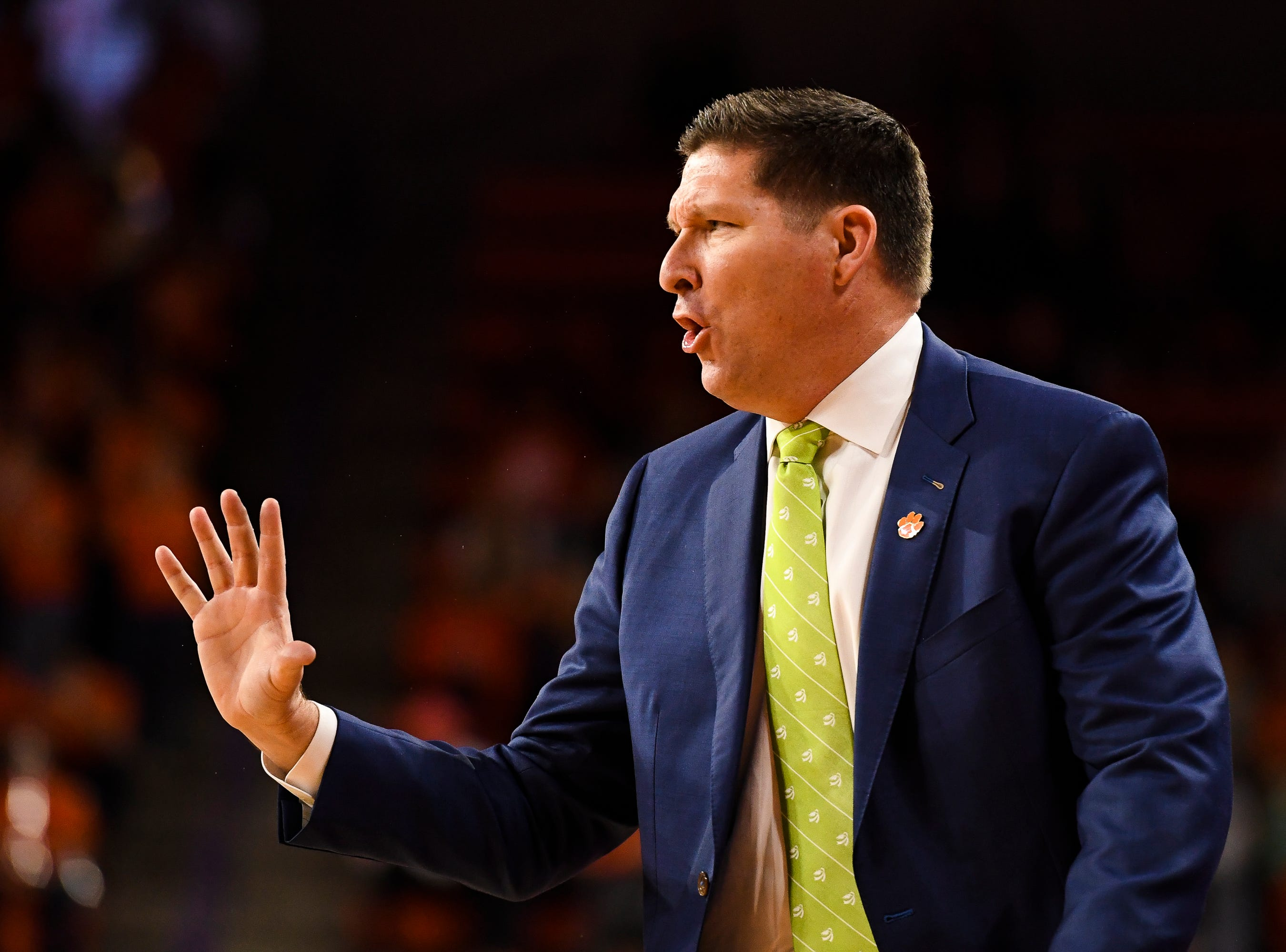 Clemson head coach Brad Brownell during their game against Pittsburgh at Littlejohn Stadium on Tuesday, Jan. 29, 2019.