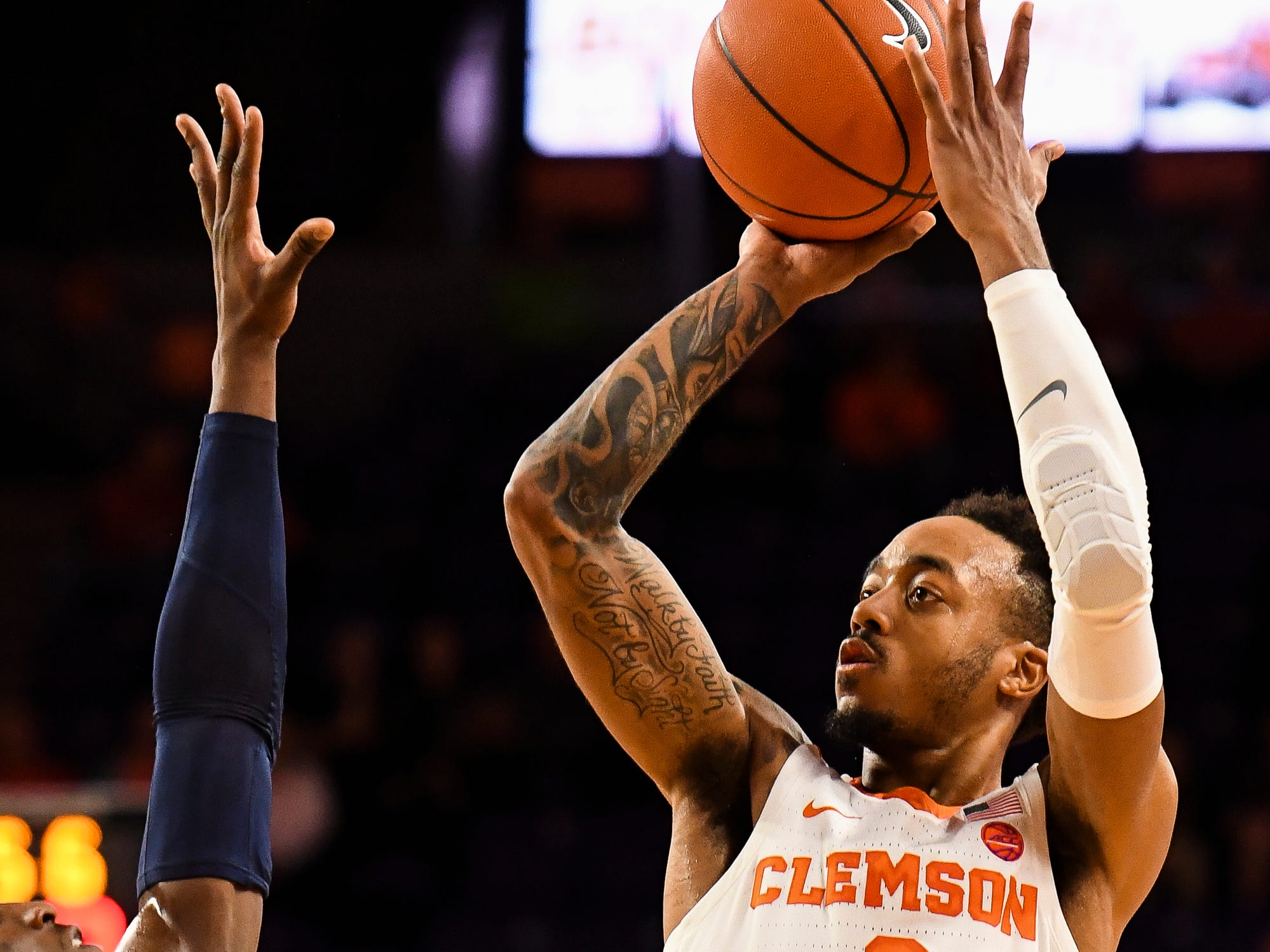 Clemson guard Marcquise Reed (2) attempts to shoot the ball during their game against Pittsburgh at Littlejohn Stadium on Tuesday, Jan. 29, 2019.