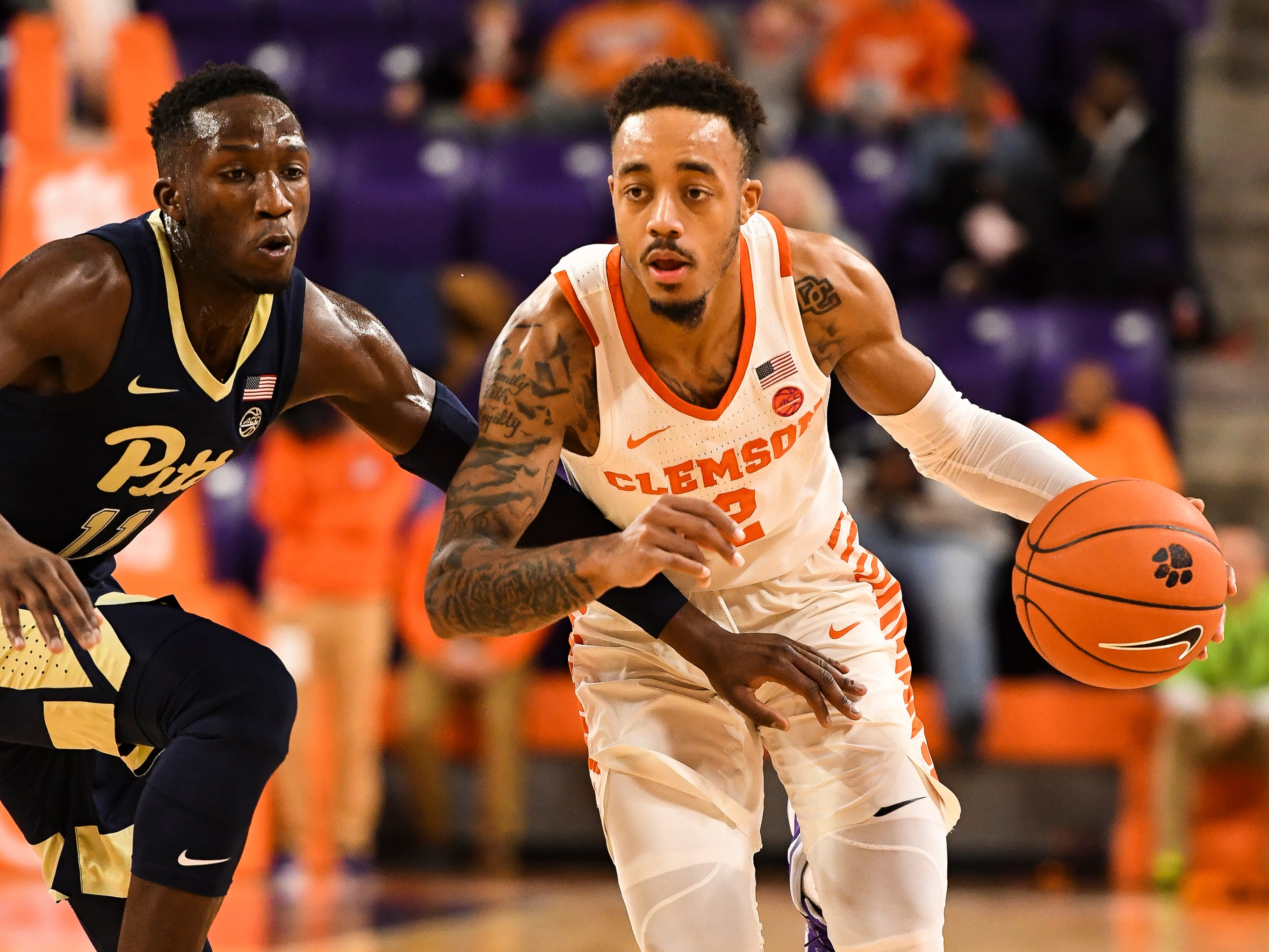 Clemson guard Marcquise Reed (2) attempts to advance past PittsburghÕs Sidy NÕDir (11) at Littlejohn Stadium on Tuesday, Jan. 29, 2019.