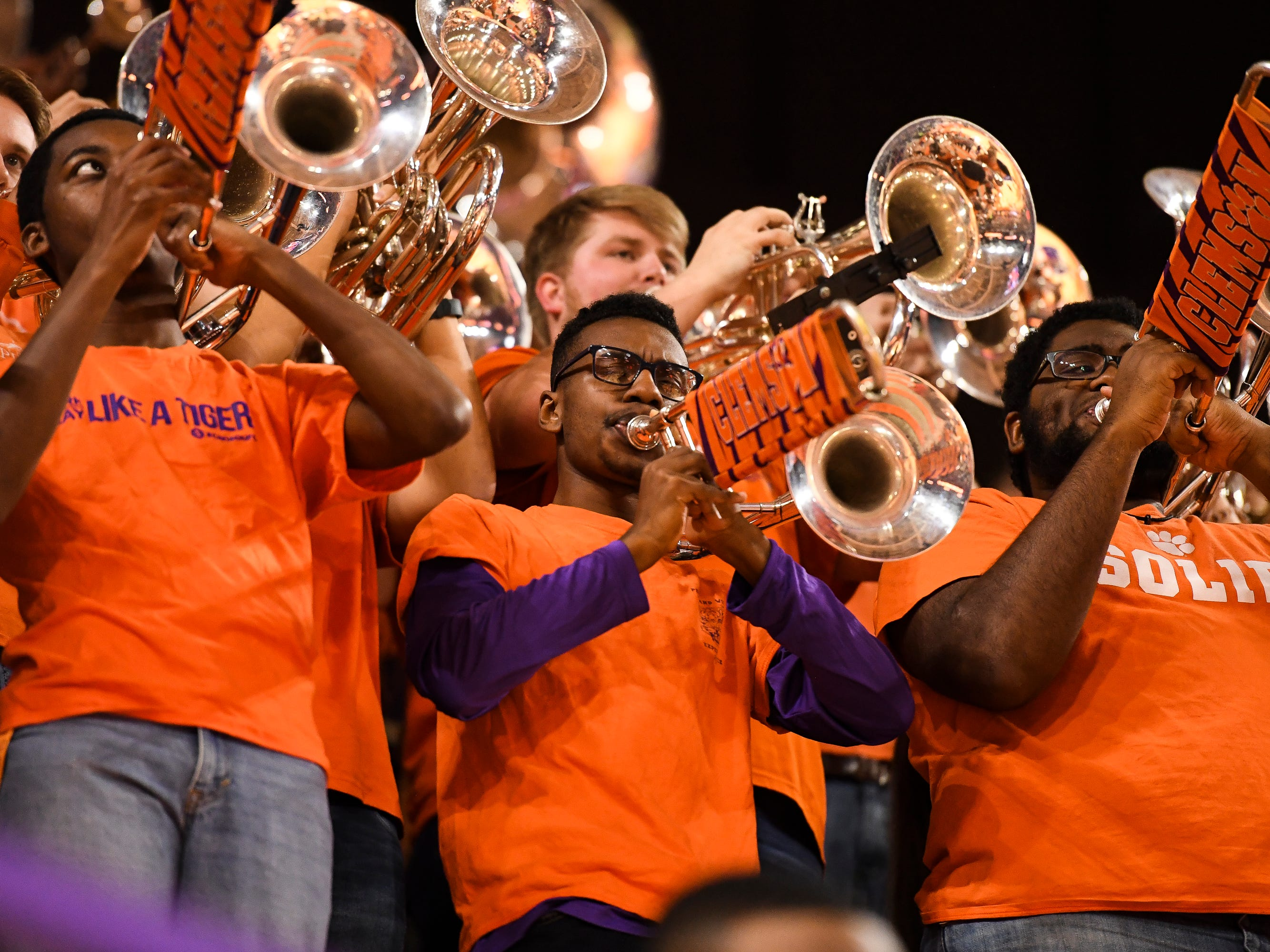 The Clemson pep band performs during their game against Pittsburgh at Littlejohn Coliseum Tuesday, Jan. 29, 2019.
