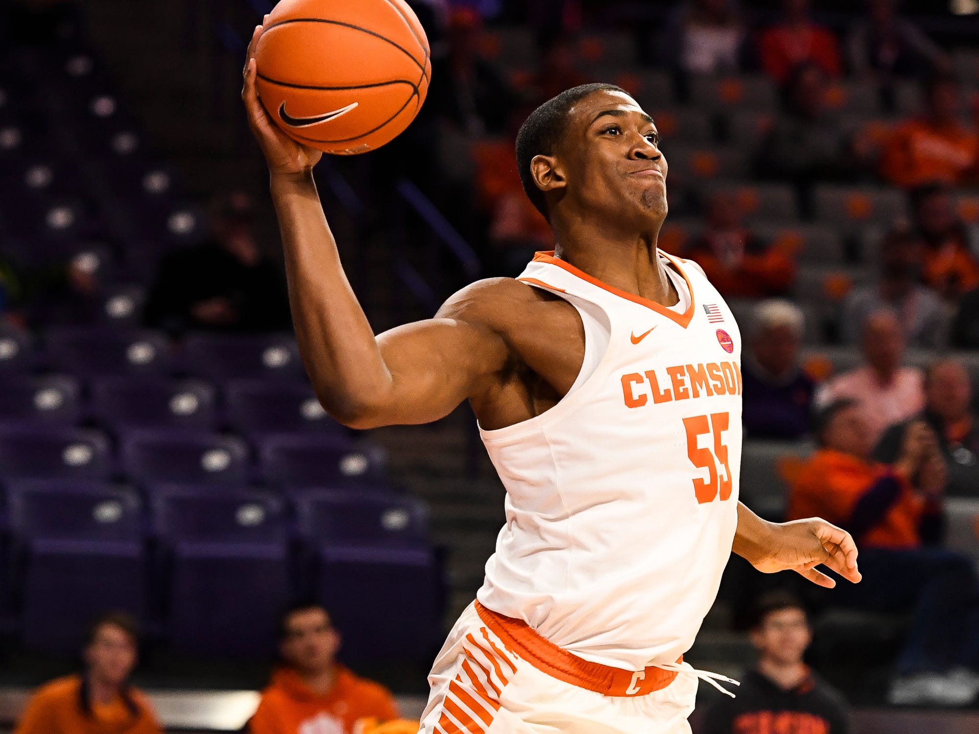 Clemson center Trey Jemison (55) attempts to throw the ball to a teammate during their game against Pittsburgh at Littlejohn Stadium on Tuesday, Jan. 29, 2019.