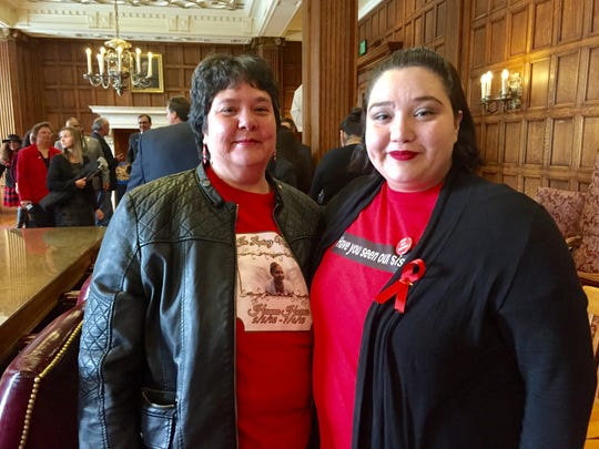 Hanna's mother, Malinda Harris Limberhand, left, and sister Rose Limberhand came to Helena in January to testify in favor of Hanna's Act.