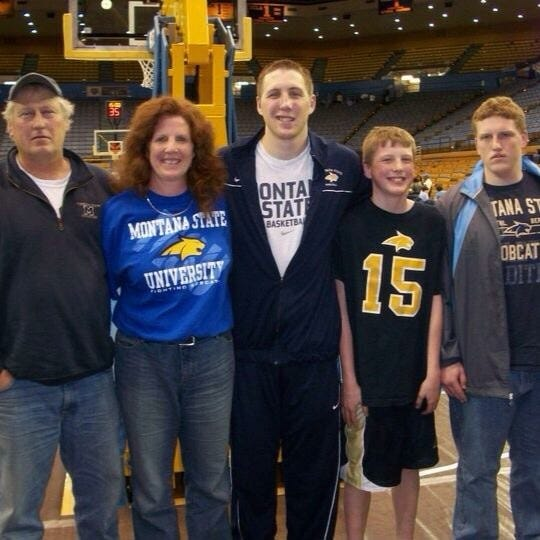 The family of Bob and Kathleen Howard traveled to UCLA for a basketball game about 12 years ago. Pictured from left are Bob, Kathleen, Bobby, Brendan and Brian.