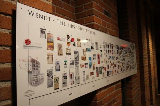 Timeline of Wendt's first 80 years displayed behind their break room