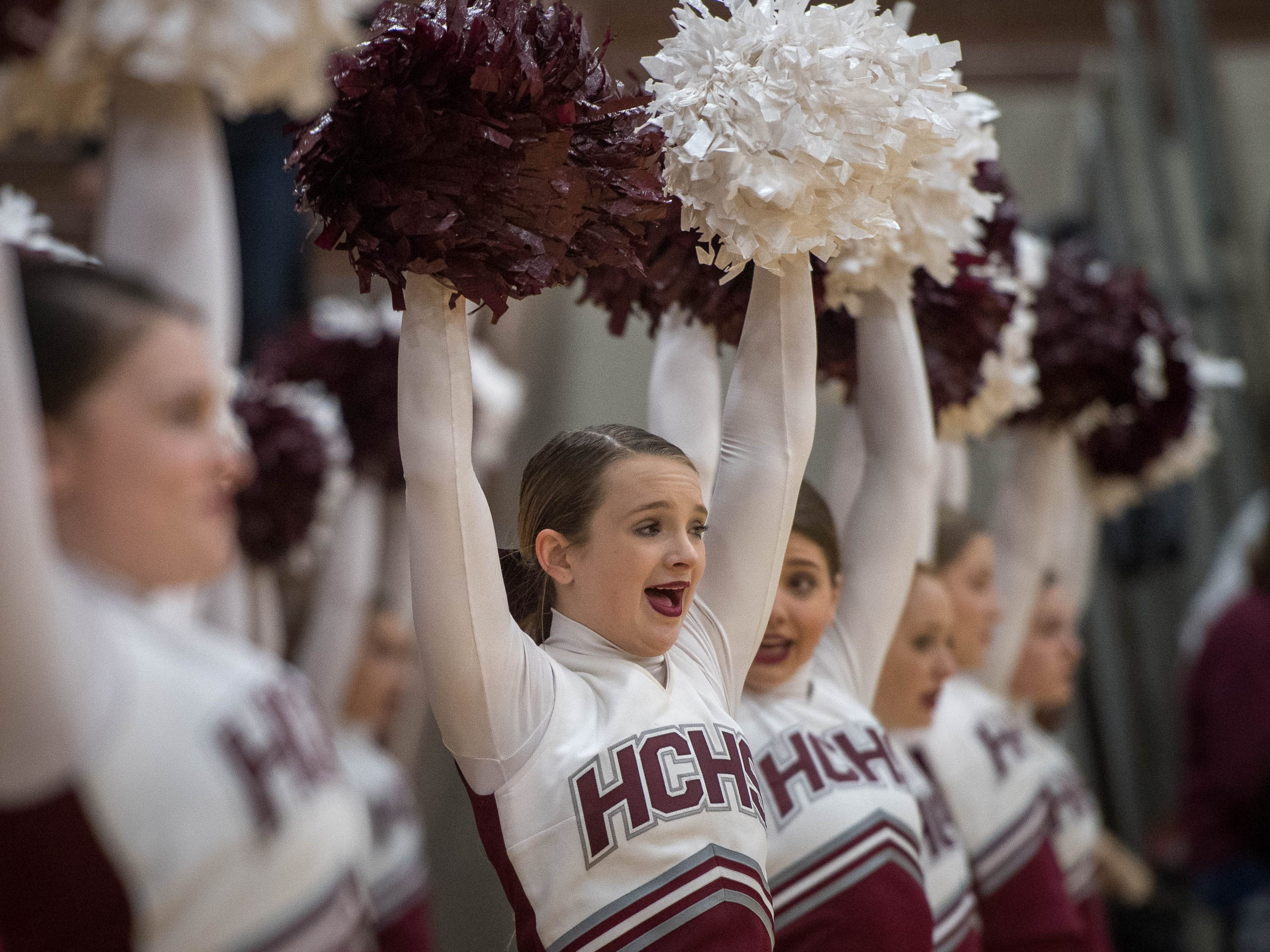 Henderson County cheerleaders as district rivals Union County Bravettes play the Henderson County Lady Colonels at Colonel Gym in Henderson Tuesday, January 29, 2019.