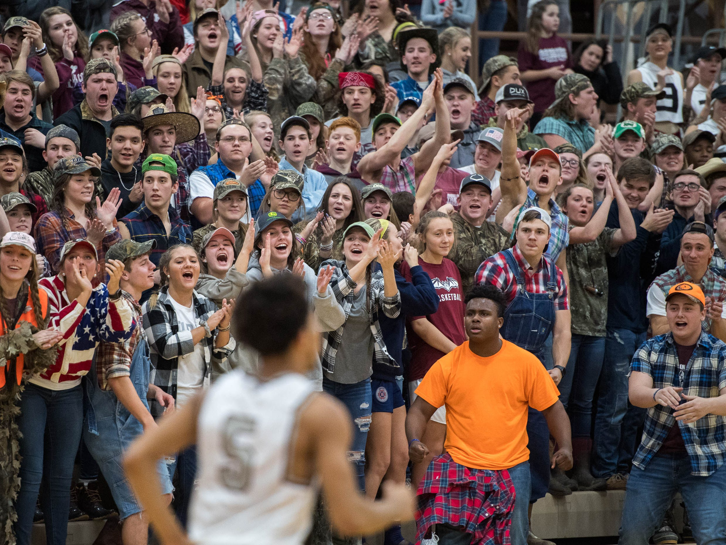the Henderson County student section feel a win coming as district rivals Union County Braves play the Henderson County Colonels at Colonel Gym in Henderson Tuesday, January 29, 2019.