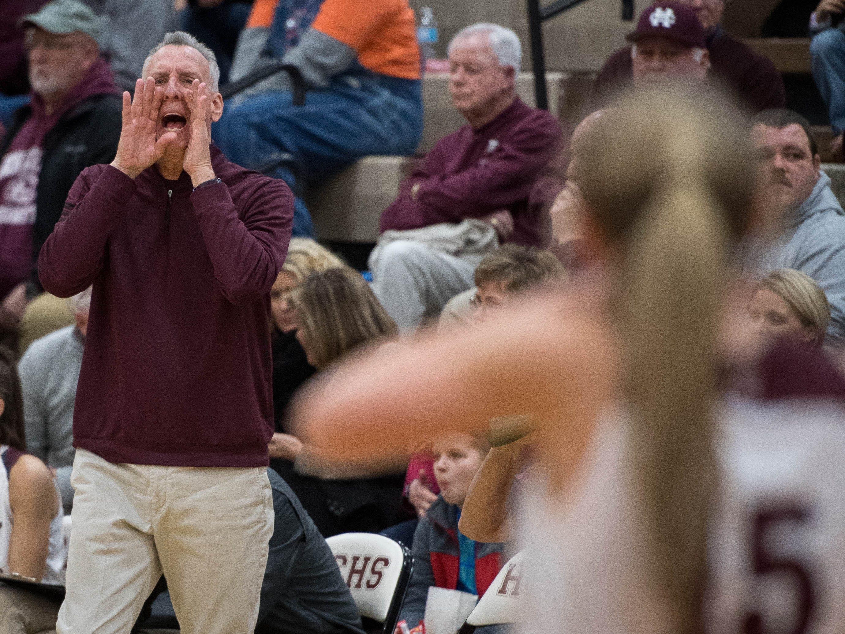 Henderson County Head Coach Jeff Haile directs his team as district rivals Union County Bravettes play the Henderson County Lady Colonels at Colonel Gym in Henderson Tuesday, January 29, 2019.