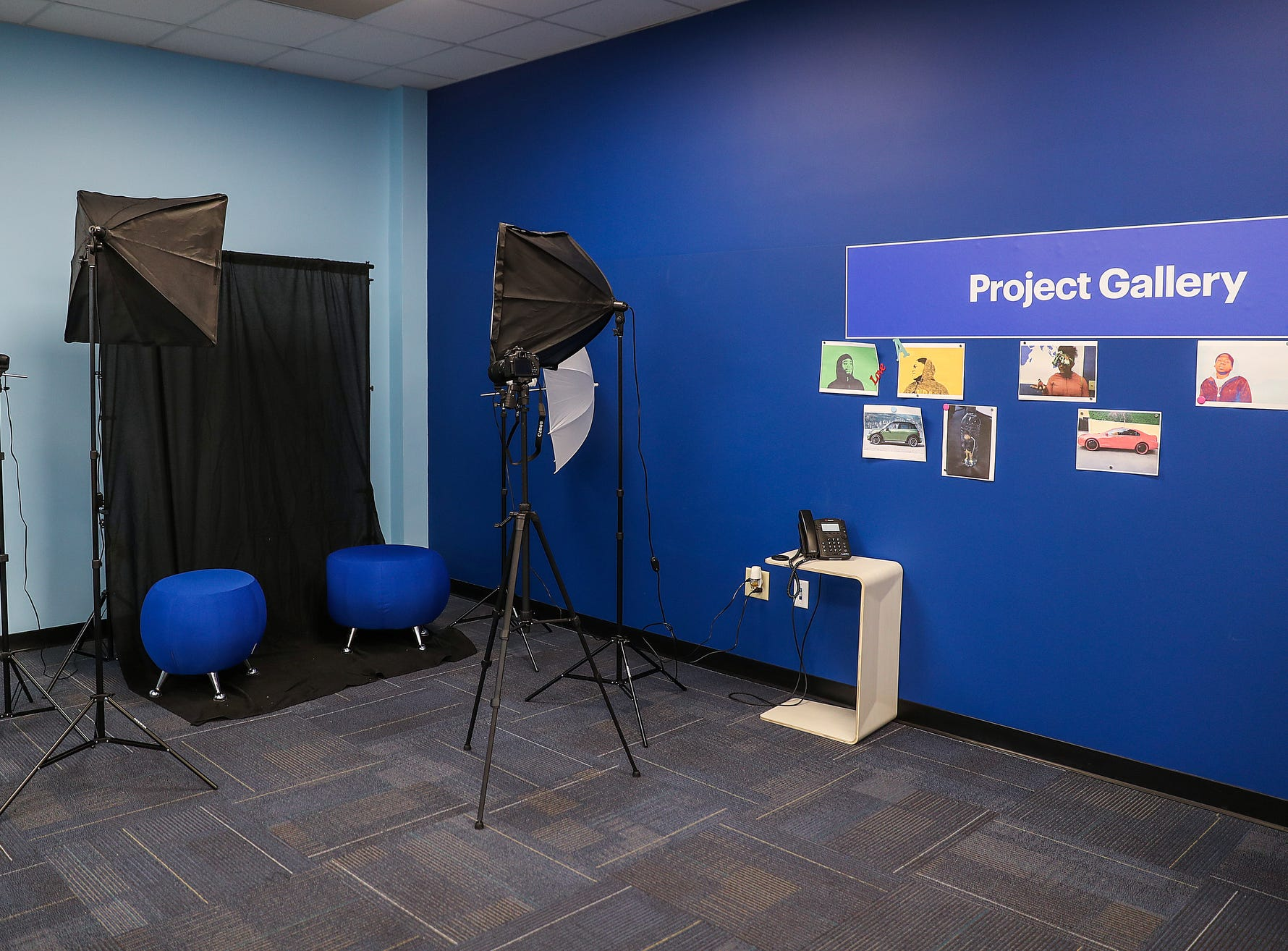 A photography corner seen during the opening of the Best Buy Teen Tech Center at the MLK Community Center in Indianapolis, Tuesday, Jan. 29, 2019.