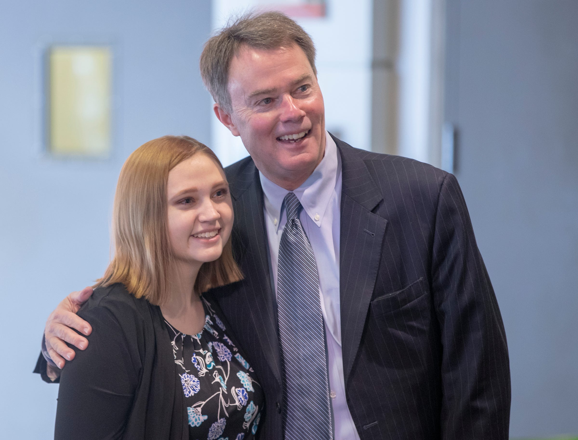Ashley Lawson poses for a photo with Mayor Joe Hogsett before an announcement about Hogsett's EmployIndy program, at the Indianapolis Zoo, Wednesday, Jan. 30, 2019. Lawson, a student at Decatur Central High School, participated at the program last Summer.
