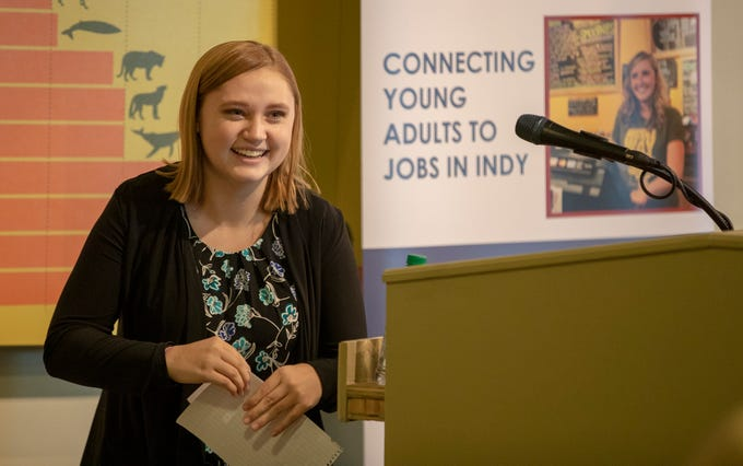 Ashley Lawson, a Decatur Central High School student who worked last Summer at the Indianapolis Zoo, smiles after an announcement about Mayor Joe Hogsett's EmployIndy program at the Zoo, Wednesday, Jan. 30, 2019. The program, in its fourth year, has employed about 6,000 young adults, and is seeking employer partnerships for this coming Summer.