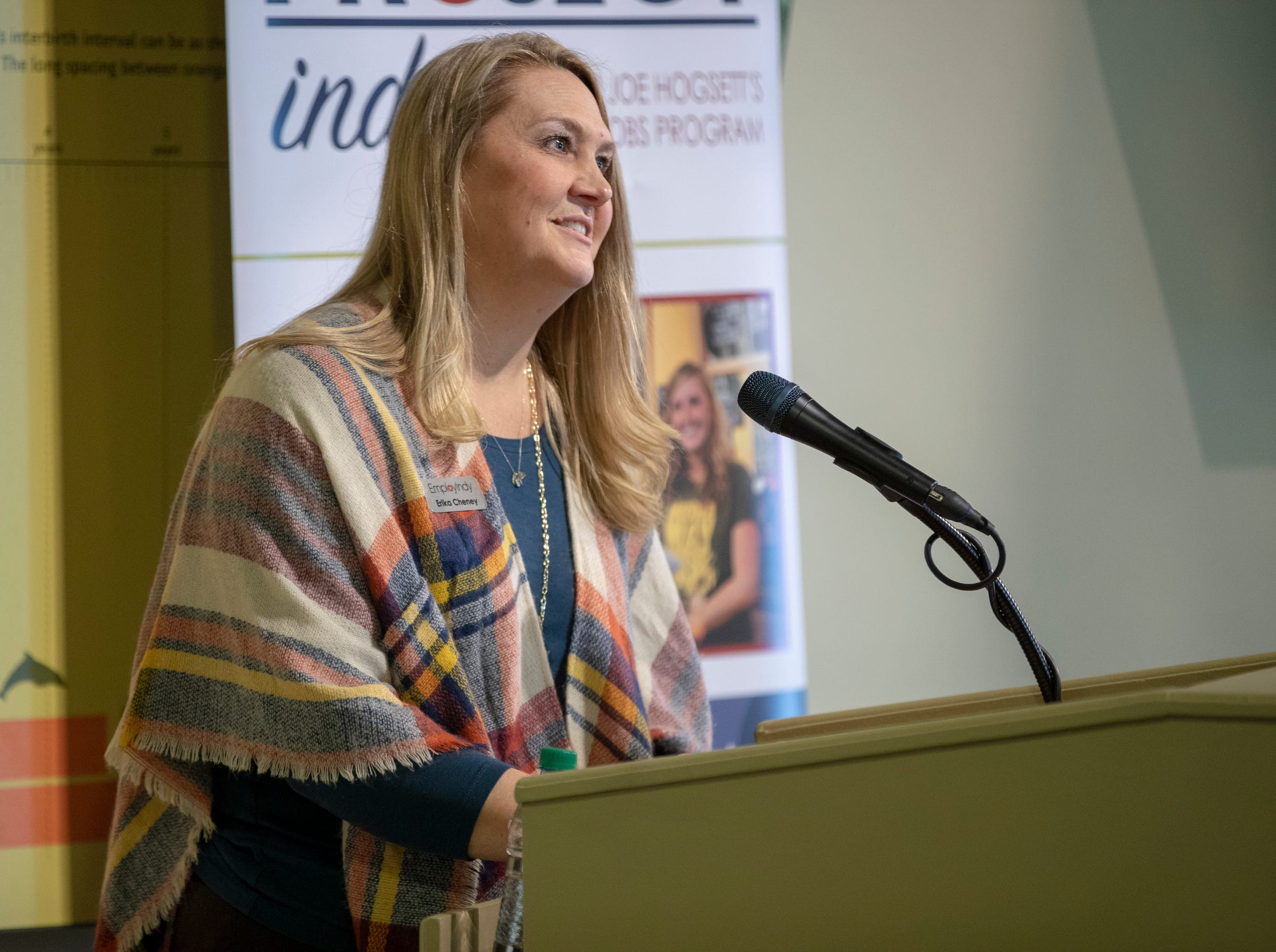 Erika Cheney, Director of In-School Youth, EmployIndy, speaks during an announcement about Mayor Joe Hogsett's EmployIndy program, at the Indianapolis Zoo, Wednesday, Jan. 30, 2019. The program, in its fourth year, has employed about 6,000 young adults, and is seeking employer partnerships for this coming Summer.