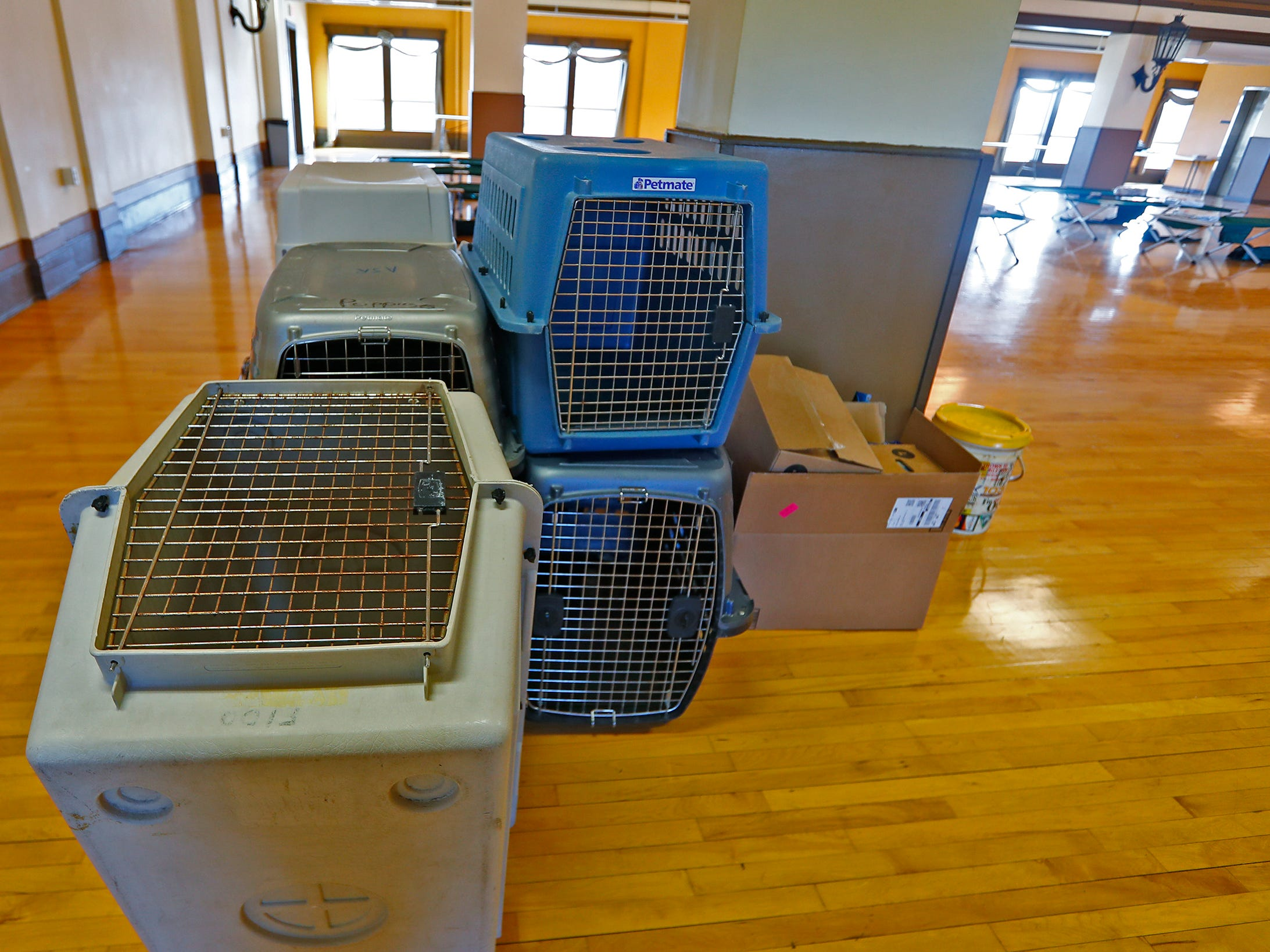 Pet crates are seen at a Community Emergency Response Team warming center at the Municipal Gardens, 1831 Lafayette Rd., Wednesday, Jan. 30, 2019.  This center is pet-friendly. Wind chills made it feel like almost 30 below zero.