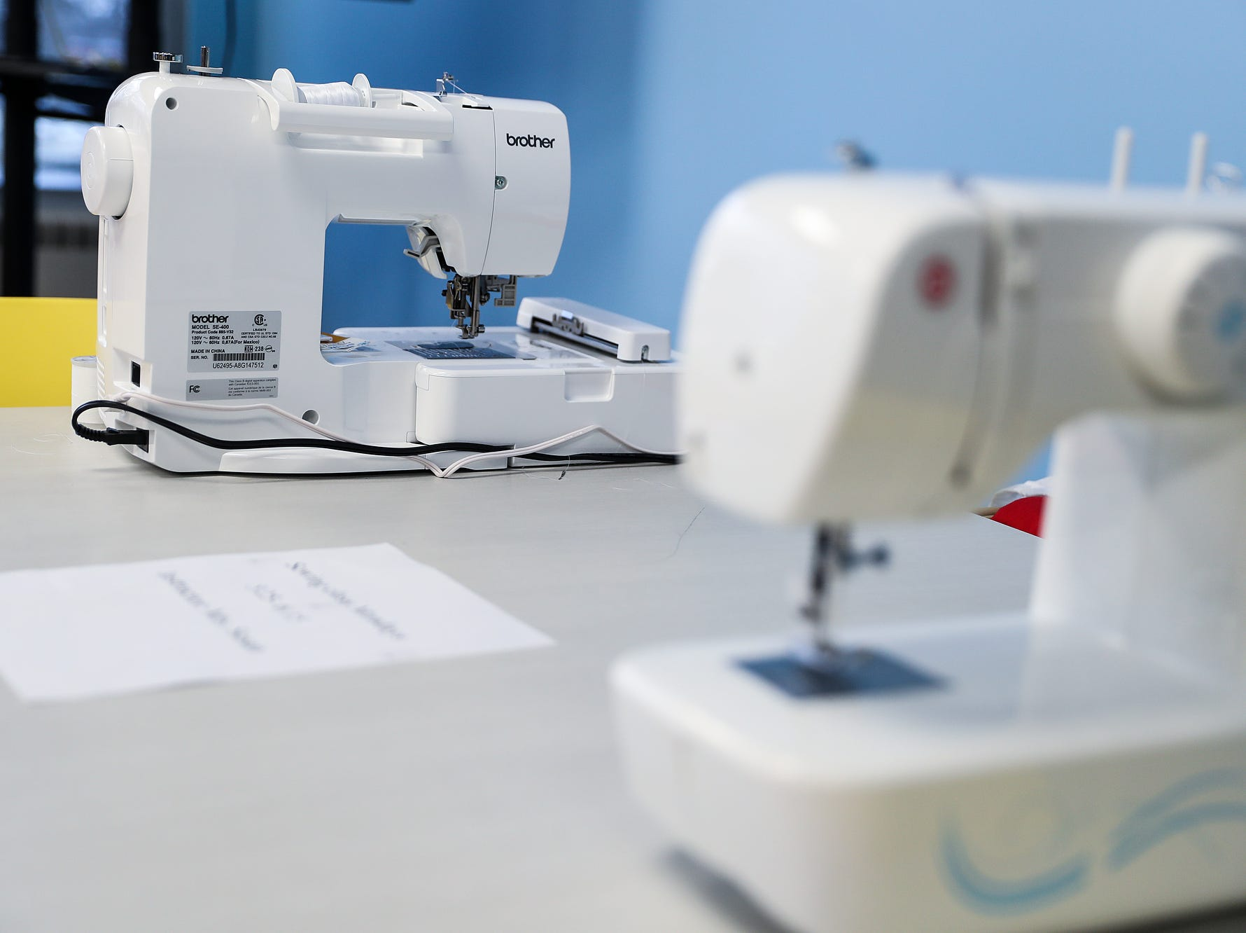 Sewing machines that will be used for Monday evening sewing classes are seen during the opening of the Best Buy Teen Tech Center at the MLK Community Center in Indianapolis, Tuesday, Jan. 29, 2019.