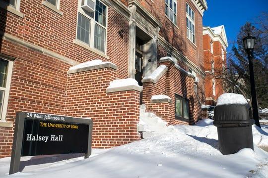 Halsey Hall is seen Wednesday, Jan. 30, 2019, on the University of Iowa campus in Iowa City, Iowa.