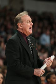 Mississippi State's Vic Schaefer yells instructions to his team in the third quarter of MSU's win over Ole Miss on Sunday, January 27, 2019. Photo by Keith Warren