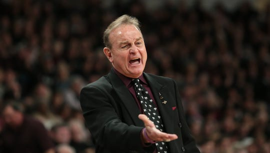 Mississippi State's Vic Schaefer gestures while talking to an official during the Bulldogs win over Ole Miss at Humphrey Coliseum on Sunday, January 27, 2019. Photo by Keith Warren
